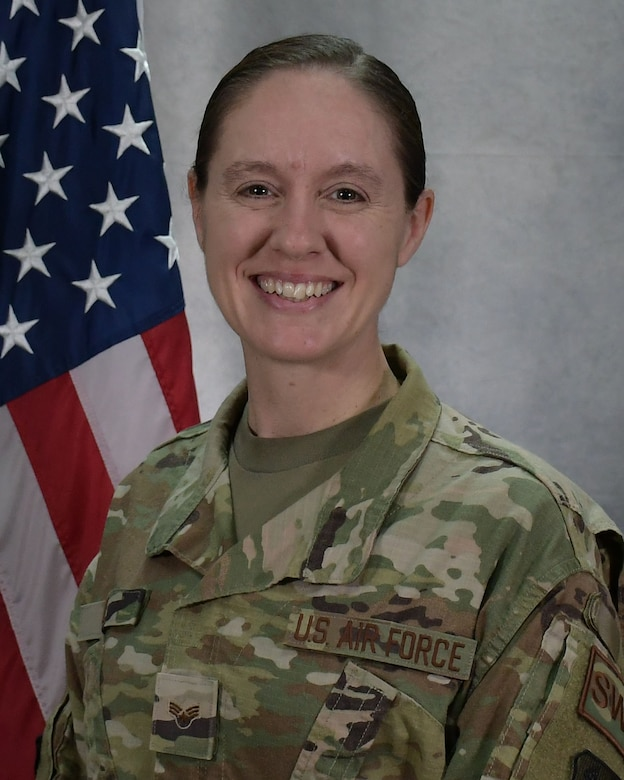 U.S. Air Force Senior Airman Ruth-Ann B. Bell, a weather forecaster with the 203rd Weather Flight, 193rd Special Operations Wing, Pennsylvania Air National Guard, poses for an official portrait at Fort Indiantown Gap, Annville, Pennsylvania, April 7, 2021. Bell was named the Air National Guard's 2021 Outstanding Airman of the Year. (U.S. Air National Guard photo by Master Sgt. Matt Schwartz)