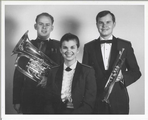 The Bowman siblings all served as members of The U.S. Air Force Band. Pictured from left to right are euphoniumist Brian Bowman, vocalist Linda Jane Bowman, and trumpeter Victor Bowman.