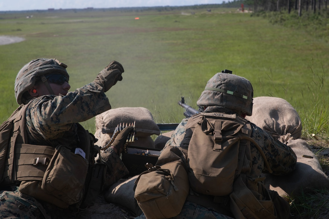 U.S. Marine Corps Lance Cpl. Samal Khosravi, left, and Lance Cpl. Matthew Jude, both machine gunners with 3d Battalion, 2d Marine Regiment, 2d Marine Division, suppress notional enemies during a support-by-fire range as part of a field exercise on Camp Lejeune, N.C., Aug. 12, 2021.