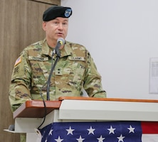 SINAI PENINSULA, Egypt – Maj. Gen. Douglas Crissman, the U.S. Army Central deputy commanding general, speaks during a Task Force Sinai change of command ceremony held at the Multinational Force and Observers Headquarters Auditorium August 15, 2021 at South Camp, Sinai, Egypt. The event formally welcomed Col. Matthew Archambault as the new brigade commander of Task Force Sinai and the chief of staff of the MFO.