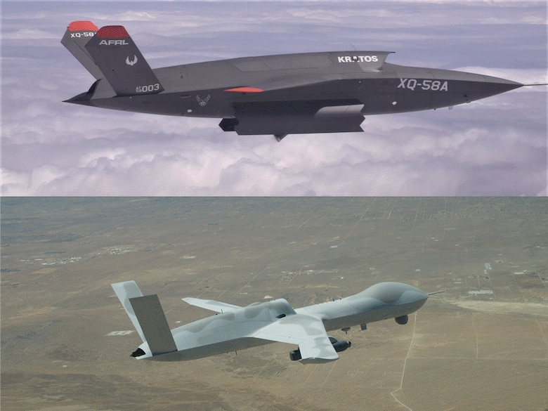 Pictured (top): KRATOS XQ-58A and (bottom): General Atomics MQ-20 (Courtesy graphic)