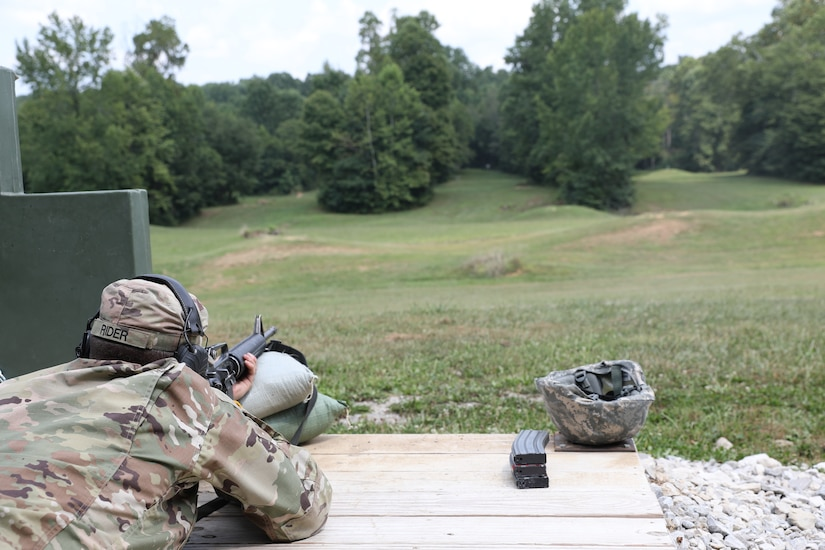 Army Reserve Soldiers assigned to Headquarters and Headquarters Detachment, 84th Training Command, conduct rifle marksmanship qualification Aug. 7, 2021, at Wood Range in Fort Knox, Kentucky. (U.S. Army photo by Sgt. 1st Class Osvaldo P. Sanchez)