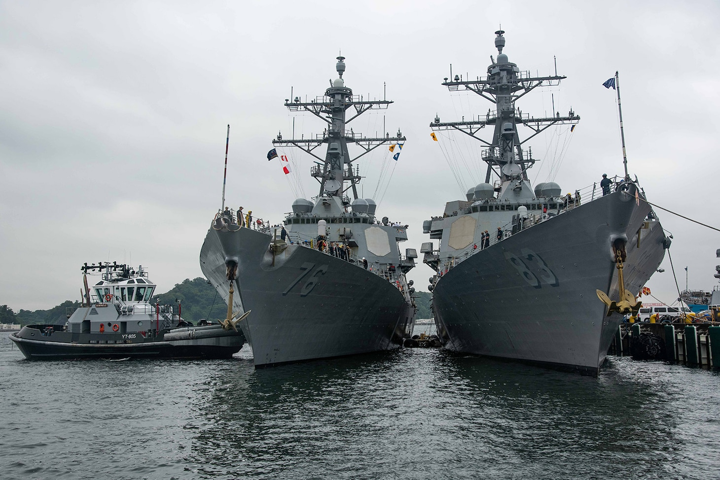 The Arleigh Burke-class guided-missile destroyer USS Higgins (DDG 76) arrives at Commander, Fleet Activities Yokosuka (CFAY), Japan Aug. 16 as one of the newest additions to Commander, Task Force (CTF) 71/Destroyer Squadron (DESRON) 15. Higgins is assigned to CTF 71/DESRON 15, the Navy's largest forward deployed DESRON and the U.S. 7th Fleet's principle surface force.
