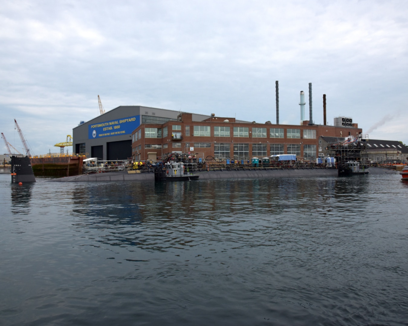 Portsmouth Naval Shipyard, Kittery, ME: Jun 22, 2021: USS Virginia (SSN 774) successfully exits dry dock at the shipyard. Virginia is at the shipyard for a scheduled maintenance period.