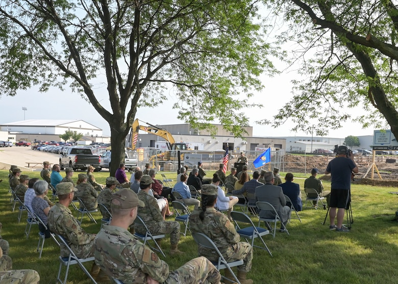 The Wisconsin Air National Guard's 115th Fighter Wing holds a breaking ground ceremony on its first major F-35 project Aug. 11, 2021 at Truax Field. The ceremony brought together military and civilian leadership to commemorate the future of the Madison unit as the selected beddown site of the F-35 Lightning II aircraft. (U.S. Air National Guard photo by Staff Sgt. Cameron Lewis)