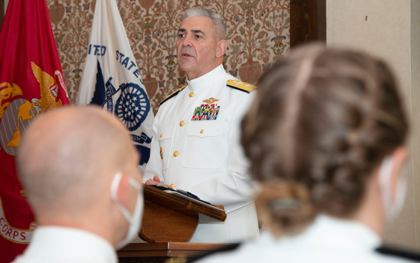 Rear Adm. Gregory Todd, Chaplain of the Marine Corps and Deputy Chief of Chaplains gives the graduation address during a graduation ceremony held in the Chapel of Hope, on Naval Station Newport, R.I., for students assigned to the Naval Chaplaincy School and Center in the Basic Leadership Course, class 21030, Aug. 4. The Basic Leadership Course is a seven-week course which teaches basic knowledge of military chaplaincy as well as the fundamental skills to enable them to function effectively in a variety of sea service venues. (U.S. Navy photo by Mass Communication Specialist 2nd Class Derien C. Luce)