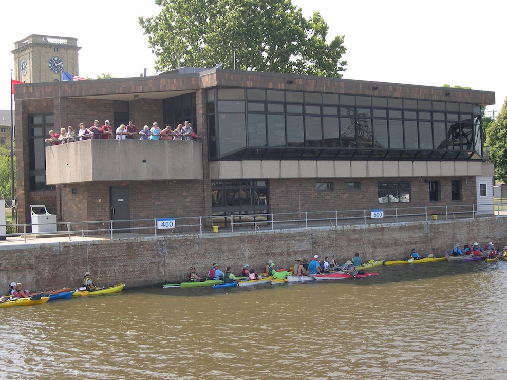 View of paddlers at Locks and Dam 15 on the Mississippi River.