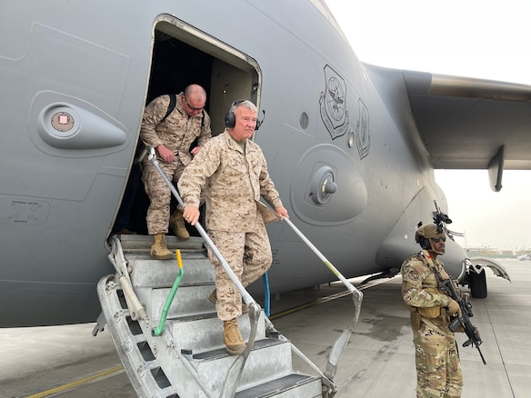 U.S. Marine Corps Gen. Frank McKenzie, the commander of U.S. Central Command, arrives at Hamid Karzai International Airport, Afghanistan on August 17, 2021. (U.S. Navy photo by Capt. William Urban)