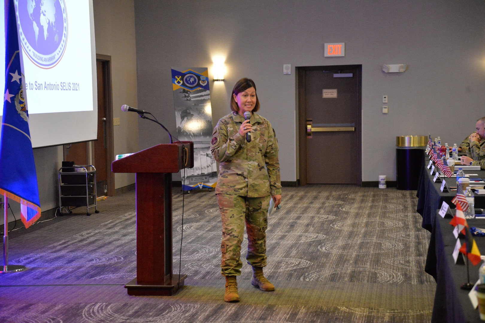 CMSAF Bass in front of room