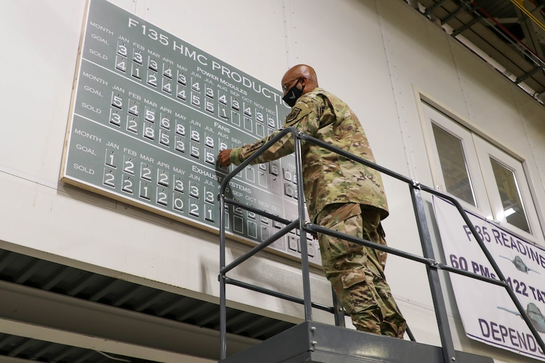 A man standing on a ladder, putting numbers on a board