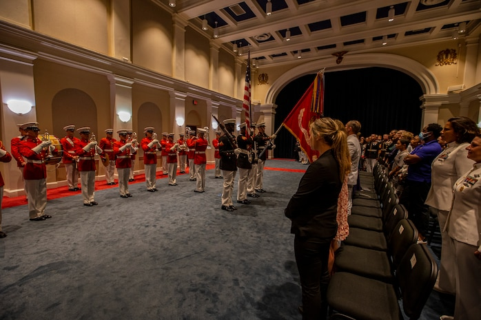 Marines with the Official U.S. Marine Corps Color Guard present the National Ensign during the Friday Evening Parade at Marine Barracks Washington, Aug. 13, 2021.
