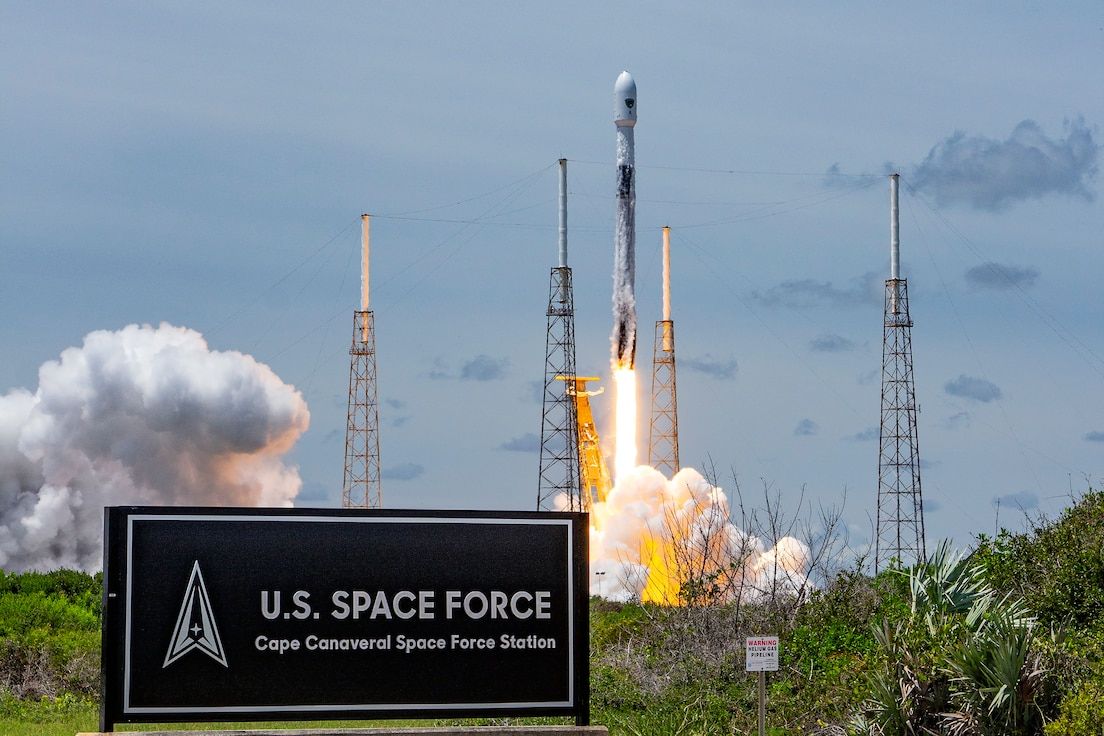 A Falcon 9 rocket carrying a GPS III-5 satellite into orbit launches from LC-40 at Cape Canaveral Space Force Station, Fla., June 17, 2021. The GPS III satellites have signals three times more accurate than the current generation of satellites and eight times the jamming resistance.