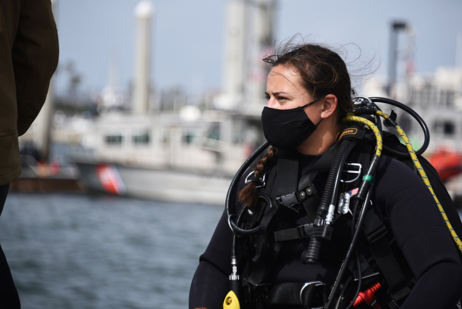 Petty Officer 2nd Class Monique Gilbreath prepares to take part in a diving exercise at Coast Guard Sector San Diego, March 25, 2021. Gilbreath is one of two active female divers in the Coast Guard. (U.S. Coast Guard photo by Petty Officer 3rd Class Alex Gray)