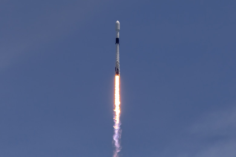 A Falcon 9 rocket carrying a GPS III-5 satellite into orbit launches from LC-40 at Cape Canaveral Space Force Station, Fla., June 17, 2021. The GPS III satellites have signals three times more accurate than the current generation of satellites and eight times the jamming resistance. (U.S. Space Force photo by Joshua Conti)