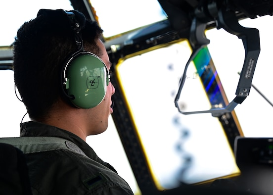 1st Lt. Justin Click, 62d Airlift Squadron student pilot, prepares to taxi in a C-130J Super Hercules that has undergone the 8.1 block upgrade