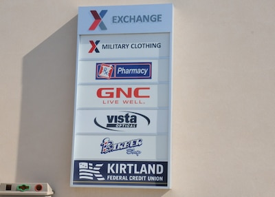 Outdoor sign for Exchange pharmacy at Kirtland AFB, N.M.