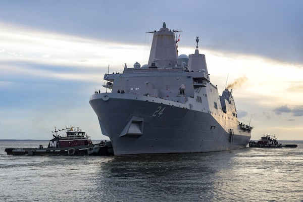 NAVAL STATION NORFOLK (Aug. 17, 2021) The amphibious transport dock ship USS Arlington (LPD 24) departs Naval Station Norfolk.  Arlington will support humanitarian assistance and disaster relief (HADR) efforts in Haiti following a 7.2-magnitude earthquake on Aug. 14, 2021. (U.S. Navy photo by Mass Communication Specialist 1st Class Jacob Milham)