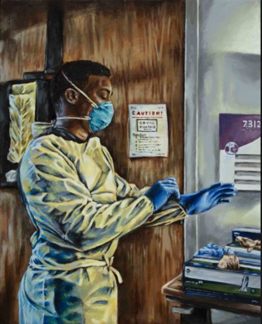 """Painting titled """"COVID 7312"""" by Sgt. 1st Class Curt Loter Acrylic on Canvas, 2021. Army Nurse Sgt. Jahmar Walton prepares to enter a COVID-19 positive room to treat patients. (Photo Credit: U.S. Army Museum Enterprise)"""