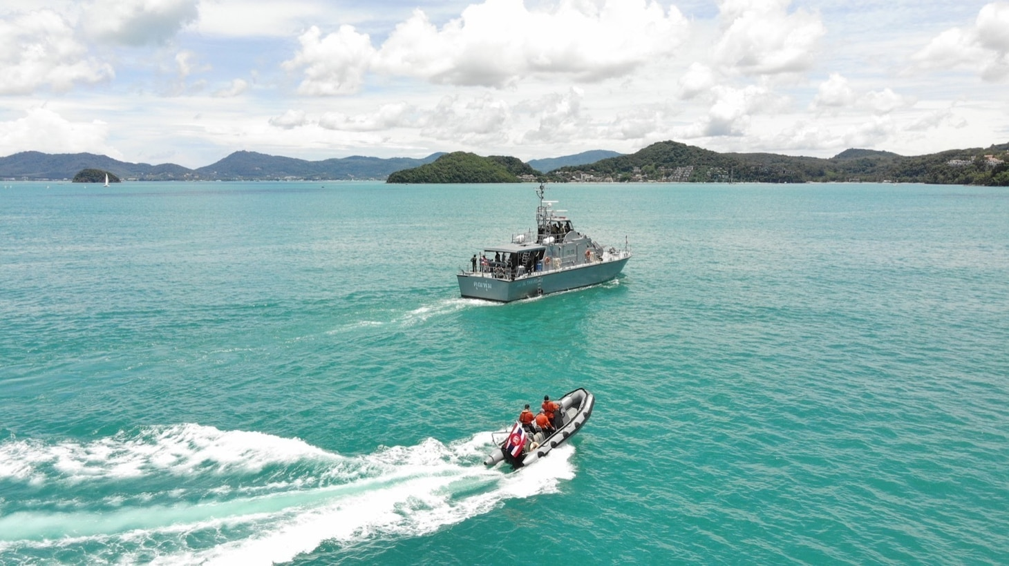 PHUKET, Thailand (Aug. 15, 2021) U.S. Navy and Thailand Maritime Enforcement Command Center (Thai MECC) personnel practice maritime tactics, techniques and procedures during Southeast Asia Cooperation and Training (SEACAT) exercise.