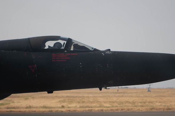 Maj. Kristopher Duckett, 99th Reconnaissance Squadron U-2 Dragon Lady pilot, sits in the cockpit of a U-2 after flying in pattern Aug. 11, 2021, at Beale Air Force Base, California.