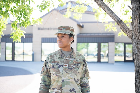 Maj. Rashida Brown, 341st Medical Group group-practice manager, poses for a photo Aug. 13, 2021, at Malmstrom Air Force Base, Mont.