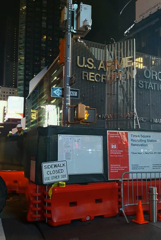 Renovations at Times Square Recruitment Booth