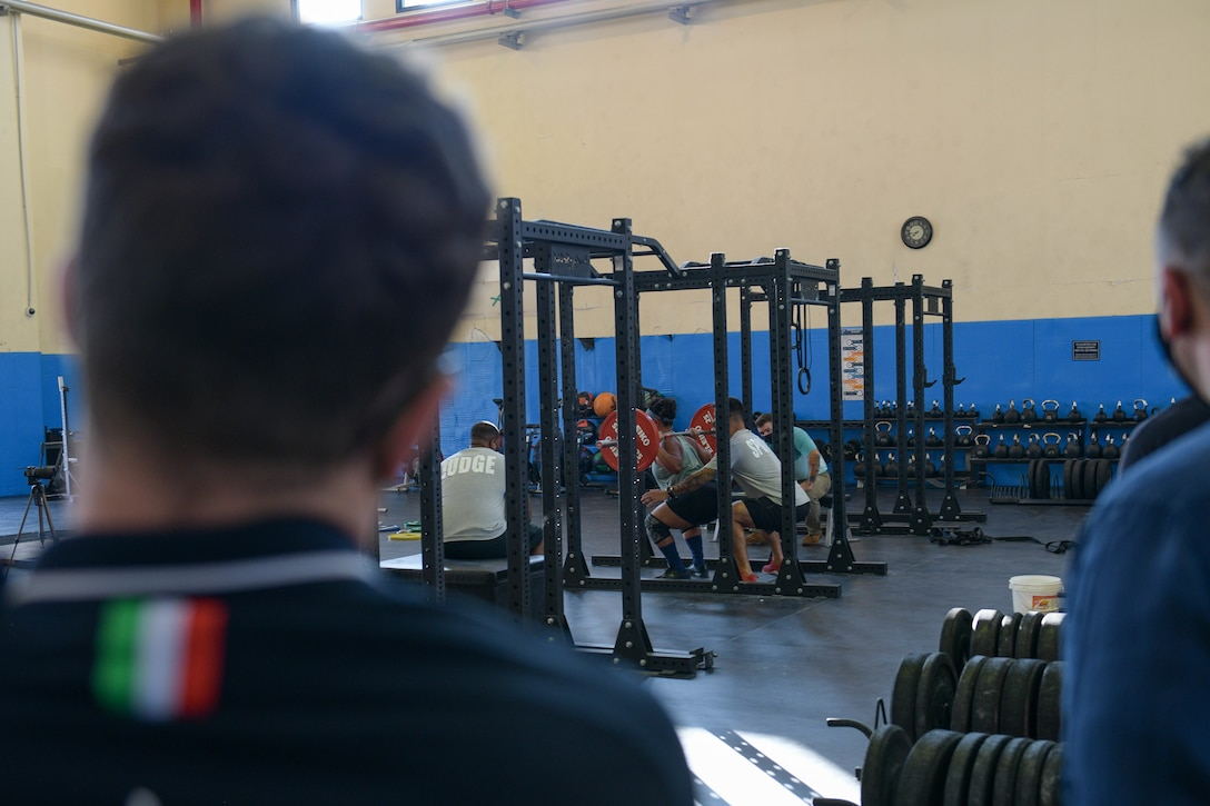 Mirko Zanni, 2020 Summer Olympics weightlifting bronze medalist winner, watches a powerlifting competition at Aviano Air Base, Italy, Aug. 19, 2021. Mirko is an Italian weightlifter who won the bronze medal in the men's 67 kg event at the 2020 Summer Olympics. (U.S. Air Force photo by Senior Airman Brooke Moeder)