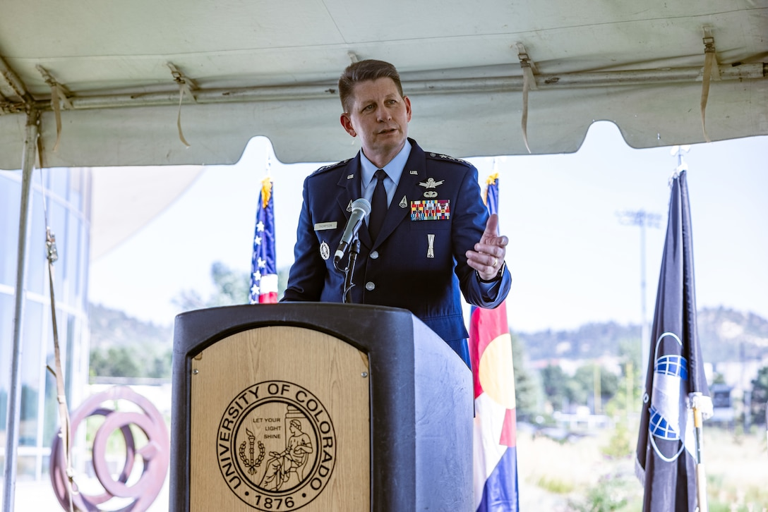 Vice Chief of Space Operations Gen. David D. Thompson speaks to attendees at an event Aug. 20, 2021, at the Ent Center for the Arts Garden at the University of Colorado at Colorado Springs, Colorado. During the event, Thompson and University of Colorado President Todd Saliman signed a Memorandum of Understanding for the Space Force's University Partnership Program. Photo by Gabby Hensley