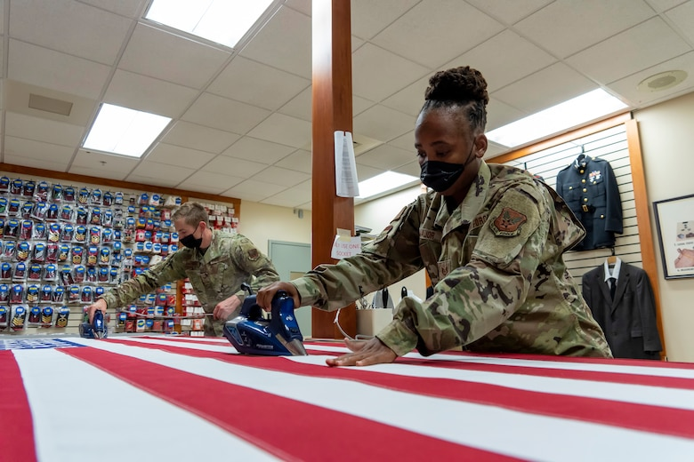 U.S. Flag preparation at Air Force Mortuary Affairs Operations
