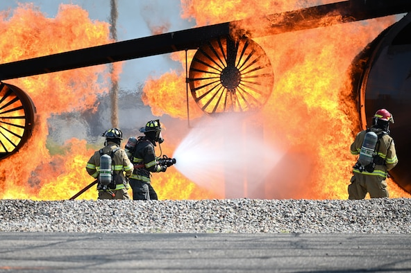 Firefighters participate in an exercise.