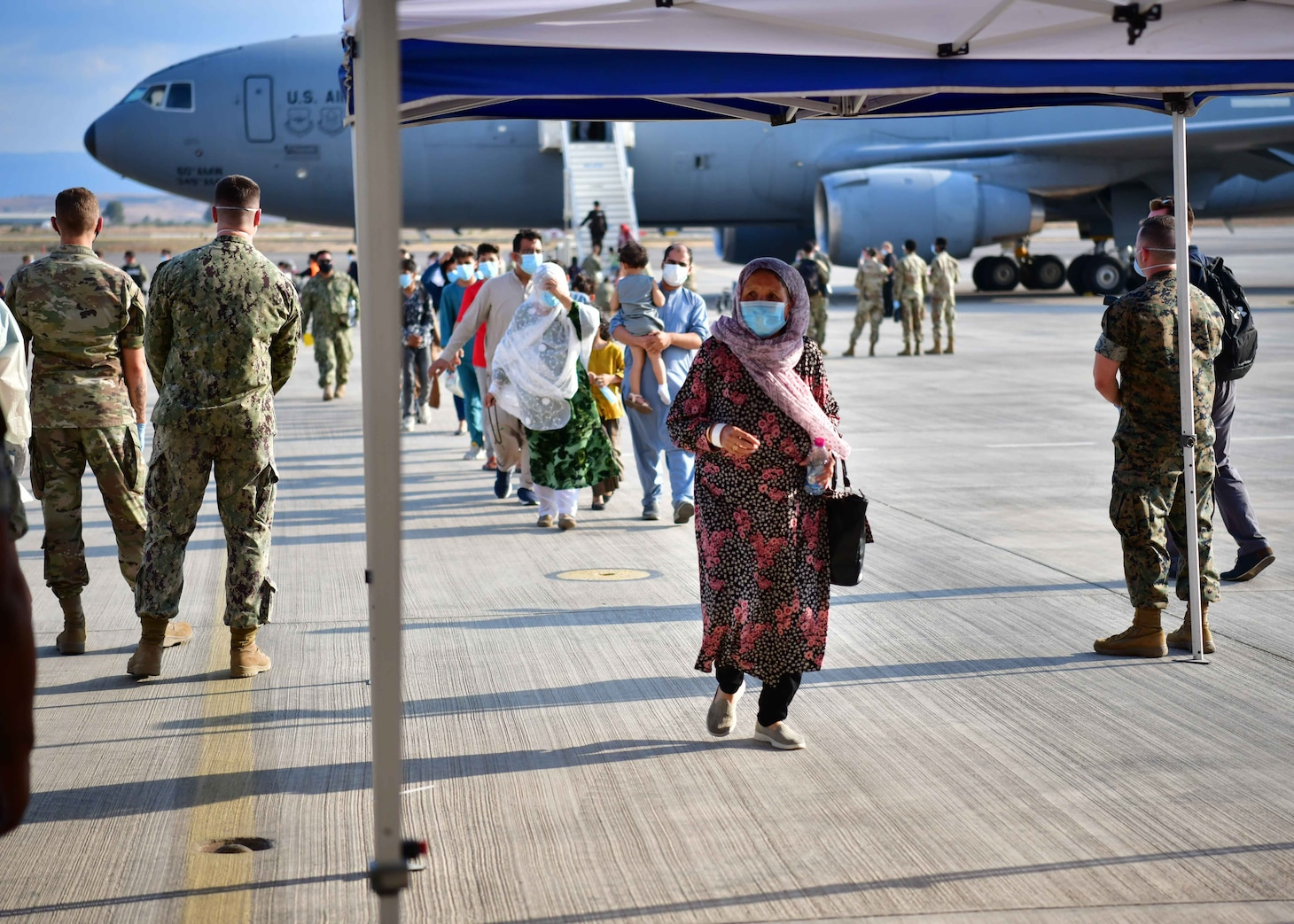 NAVAL AIR STATION SIGONELLA, Italy (Aug. 22, 2021) Qualified Afghanistan evacuees landed at Naval Air Station Sigonella, Aug. 22, 2021, as part of Operation Allies Refuge, with more arrivals expected in the coming hours and days. NAS Sigonella is currently supporting the Department of Defense mission to facilitate the safe departure and relocation of U.S. citizens, Special Immigration Visa recipients, and vulnerable Afghan populations from Afghanistan.