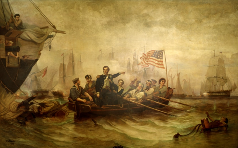 """William Henry Powell, an Ohio artist who had studied with Henry Inman in New York City, received a coveted commission in 1847: the last of the historical paintings for the U.S. Capitol Rotunda. His subject, Discovery of the Mississippi by De Soto A.D. 1541, was completed in 1853. As Henry Tuckerman wrote in his 1867 Book of the Artists, it was """"a commission bestowed upon him rather in deference to his Western origin than because of priority of claim in point of rank or age."""" [1] That is, the new political clout of the Northwest Territory had made itself felt. This national success led his home state to commission Powell in 1857 to paint Perry's Victory on Lake Erie for the rotunda of the Ohio Statehouse in Columbus. The work was completed in his New York City studio. The artist let it be known that he had used as models men from the Brooklyn Navy Yard and had sought authenticity in all the nautical details of the picture, an effort for which he was praised. The picture was installed in Columbus in 1865, whereupon the Joint Committee on the Library commissioned Powell, on March 2, 1865, for a painting """"illustrative of some naval victory,"""" to be placed at the head of the east stairway in the Senate wing of the Capitol. [2] It seems certain that he was expected to repeat his Ohio Statehouse subject on a larger scale. He did so, painting it in a temporary studio inside the U.S. Capitol and completing it in 1873. For this version, it appears that Powell used as models workers then employed at the Capitol.    Powell chose as his subject the moment when Commodore Oliver Hazard Perry made his way from his severely damaged flagship, the Lawrence, in a rowboat through enemy fire to the Niagara. Powell enlarged the crew of the boat, showing six oarsmen, a helmsman, Perry, and Perry's 13-year-old brother, Alexander, who served as Perry's midshipman. Sources do not agree on whether Alexander in fact accompanied his brother in the rowboat, but it must have seemed an"""