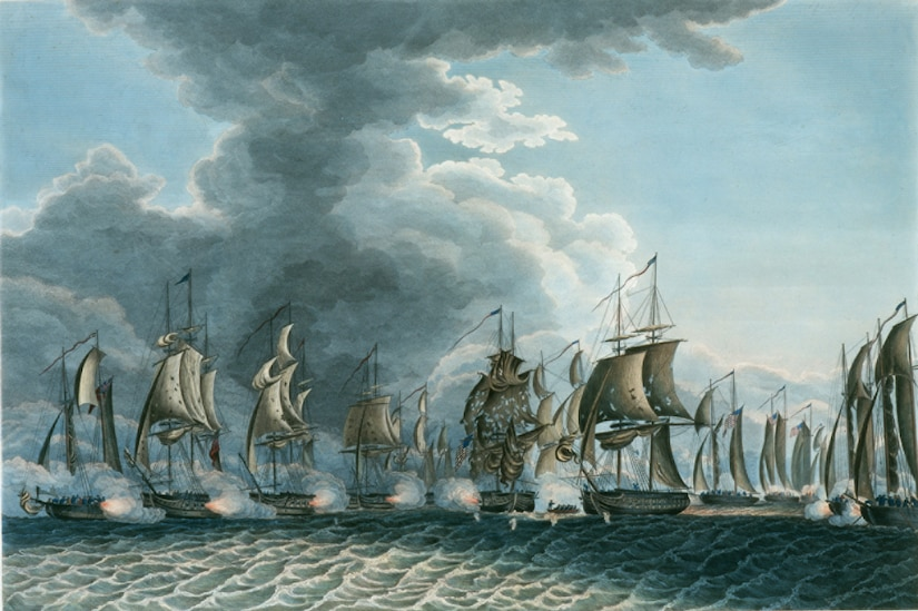 A painting shows a scene from the Battle of Lake Erie, Sept. 10, 1813. The battle took place between the opposing forces of the U.S. and Britain on the contested waters of Lake Erie during the War of 1812. The Battle of Lake Erie was one of the pivotal points of the war, with the United States trying to invade parts of Canada to use as a bargaining chip against the British in order to gain sailor's rights and free trade. (U.S. Navy photo/Released)