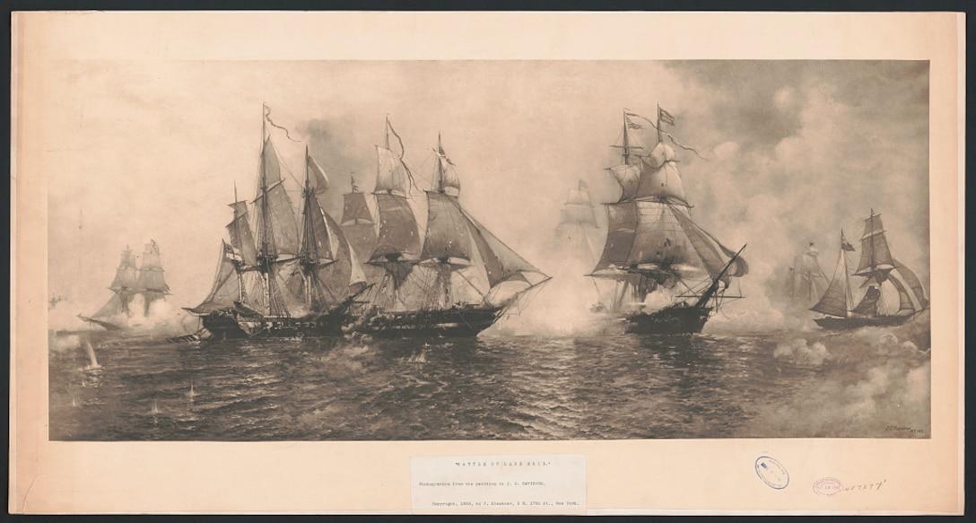 Battle of Lake Erie. , 1893. [New York:publisher not transcribed] Photograph. https://www.loc.gov/item/2018756278/    Klackner, C., copyright claimant.  Davidson, J.O., artist.