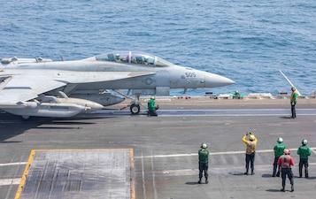 USS Ronald Reagan (CVN 76) conducts flight operations in the Arabian Sea.