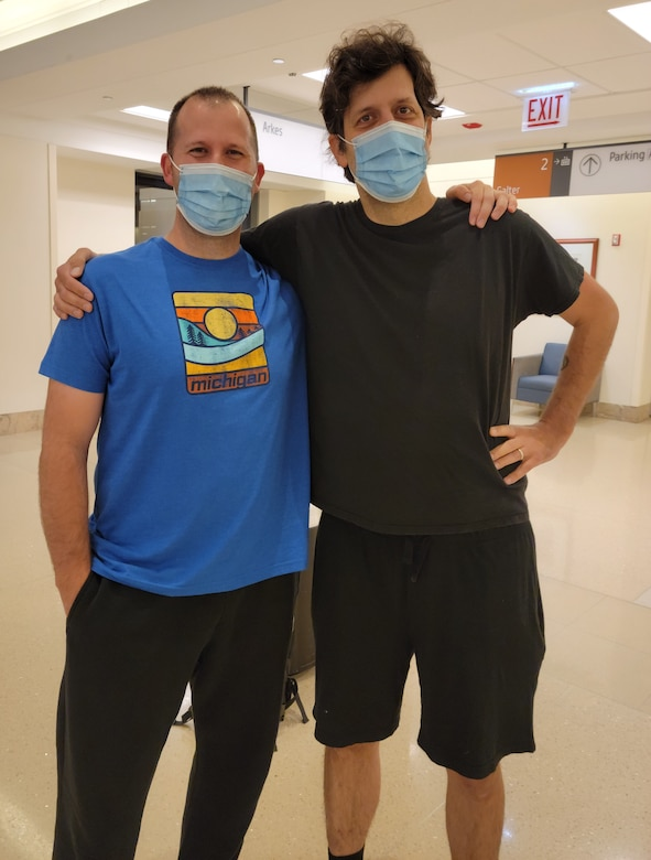 Master Sgt. Chris Florida (right), the first sergeant with the 339th Recruiting Squadron, Clinton Township, Michigan, and his brother Dan, pose for a photo a few hours before Chris donated his kidney to his older brother.