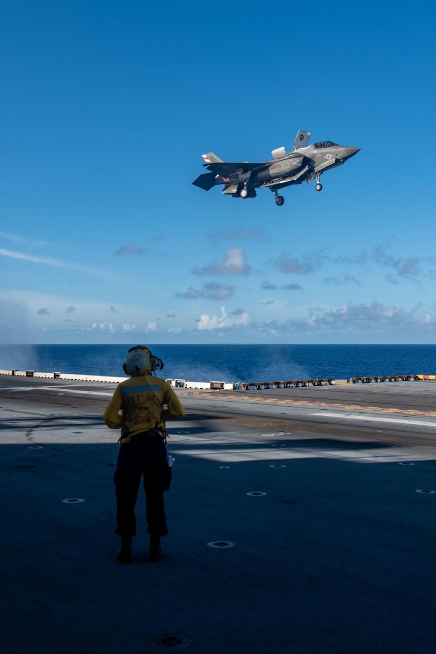 USS America (LHA 6) Conducts Flight Operations with Royal Navy Aircraft Carrier HMS Queen Elizabeth