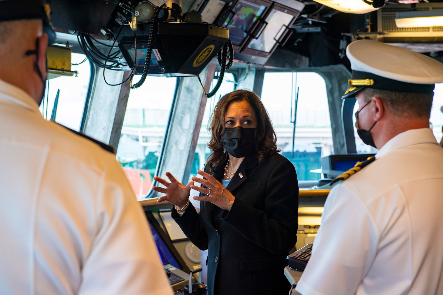 Vice President Kamala Harris visits the Independence-variant littoral combat ship USS Tulsa (LCS 16), Aug. 23, 2021.