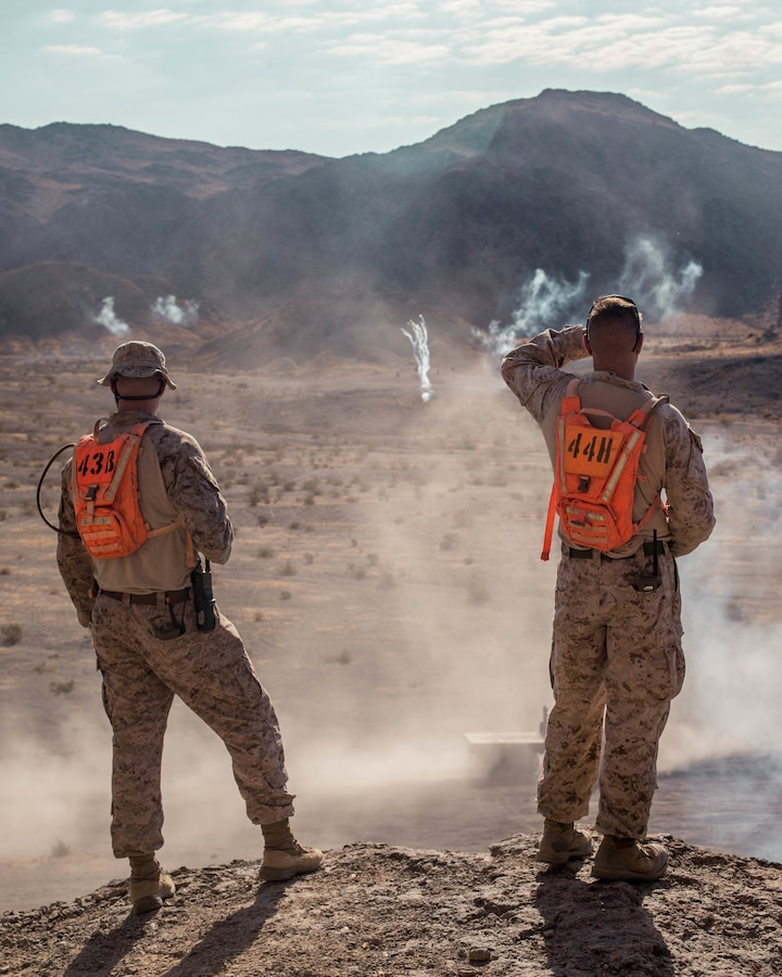 U.S. Marines with Combat Logistics Battalion (CLB) 25 conduct a Motorized Fire and Maneuver Exercise (MFME) during Integrated Training Exercise (ITX) 4-21 at Range 114 on Marine Corps Air Ground Combat Center, Twentynine Palms, California on August 3rd, 2021. The MFME challenges Marines to conduct a live-fire convoy confronted by an unblocked ambush, ensuring Marines from CLB 25 remain combat-ready as they continue to provide vital support to Marine Air Ground Task Force 25 during ITX. (U.S. Marine Corps photo by Lance Cpl. David Intriago)