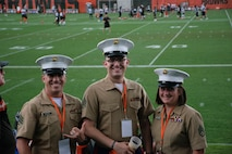 U.S. Marines with Recruiting Station Cleveland attend the Cleveland Browns training camp for military appreciation day at Berea, Ohio, Aug. 17, 2021. At the conclusion of the practice, Cleveland Browns quarterback, Baker Mayfield gave a speech to all the service members in attendance. (U.S. Marines photo by Cpl. Nello Miele)