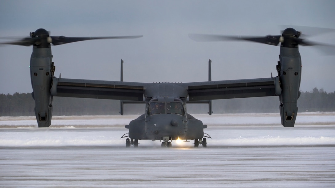 A U.S. Air Force CV-22 Osprey lands at Alpena Combat Readiness Training Center, Michigan, Jan. 21, 2020 during exercise Emerald Warrior. Emerald Warrior 20-1 provides annual, realistic pre-deployment training encompassing multiple joint operating areas to prepare special operations forces, conventional force enablers, partner nations, and interagency elements to integrate with, and execute full spectrum special operations in an arctic climate, sharpening U.S. forces' abilities to operate around the globe. (U.S. Air Force photo by Airman 1st Class Victoria Hadden)