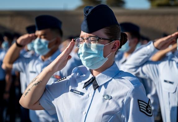 Staff Sgt. Julia Chambers renders a salute.