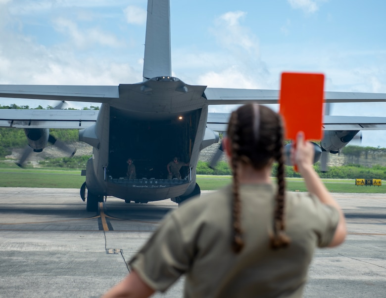 U.S. Air Force C-130 Hercules from the Minnesota Air National Guard, backs up onto the ramp in St. Croix, Virgin Islands, Aug. 17, 2021.