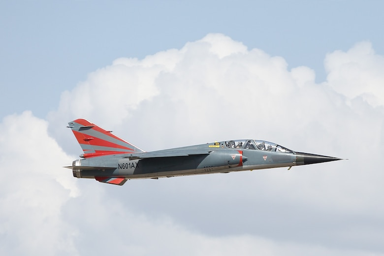 A contractor F-1 Mirage flies over Ft. Worth Alliance Airport, Texas, Aug. 19, 2019. This was the first time an F-1 owned by a private adversary air company had flown in United States airspace. (Courtesy photo)