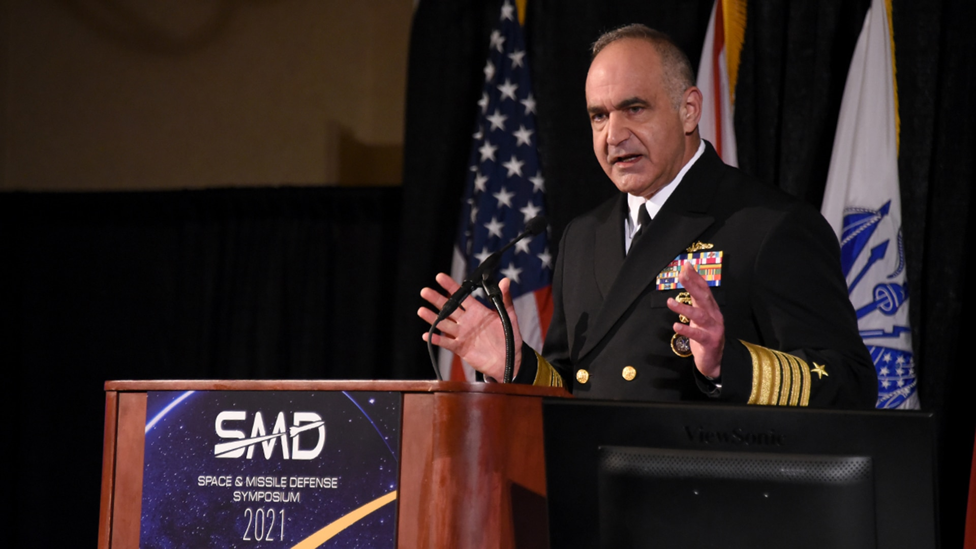 """U.S. Navy Adm. Charles """"Chas"""" A. Richard, commander of U.S. Strategic Command (USSTRATCOM), provides remarks during the 24th annual Space and Missile Defense Symposium at the Von Braun Center in Huntsville, Alabama, Aug. 12. """"We have to maintain strategic deterrence in all domains, utilizing all of the elements of our national power. We need to define the larger whole of integrated deterrence and how each of our parts fit into it,"""" Richard said. As a global warfighting combatant command, USSTRATCOM delivers a dominant strategic force and innovative team to maintain our Nation's enduring strength, prevent and prevail in great power conflict, and grow the intellectual capital to forge 21st century strategic deterrence. (U.S. Navy photo by CAPT Ron Flanders)"""