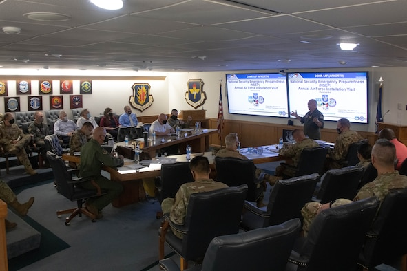 U.S. Air Force Col. Michael Morrisett, Emergency Preparedness Liaison Officer (EPLO) to Oklahoma, briefs senior leaders from the 97th Air Mobility Wing on Altus Air Force Base, Oklahoma, Aug. 19, 2021. As the EPLO, Morrisett is the liaison between the Department of Defense and any federal, state, or local agencies during a disaster. (U.S. Air Force photo by Airman 1st Class Trenton Jancze)