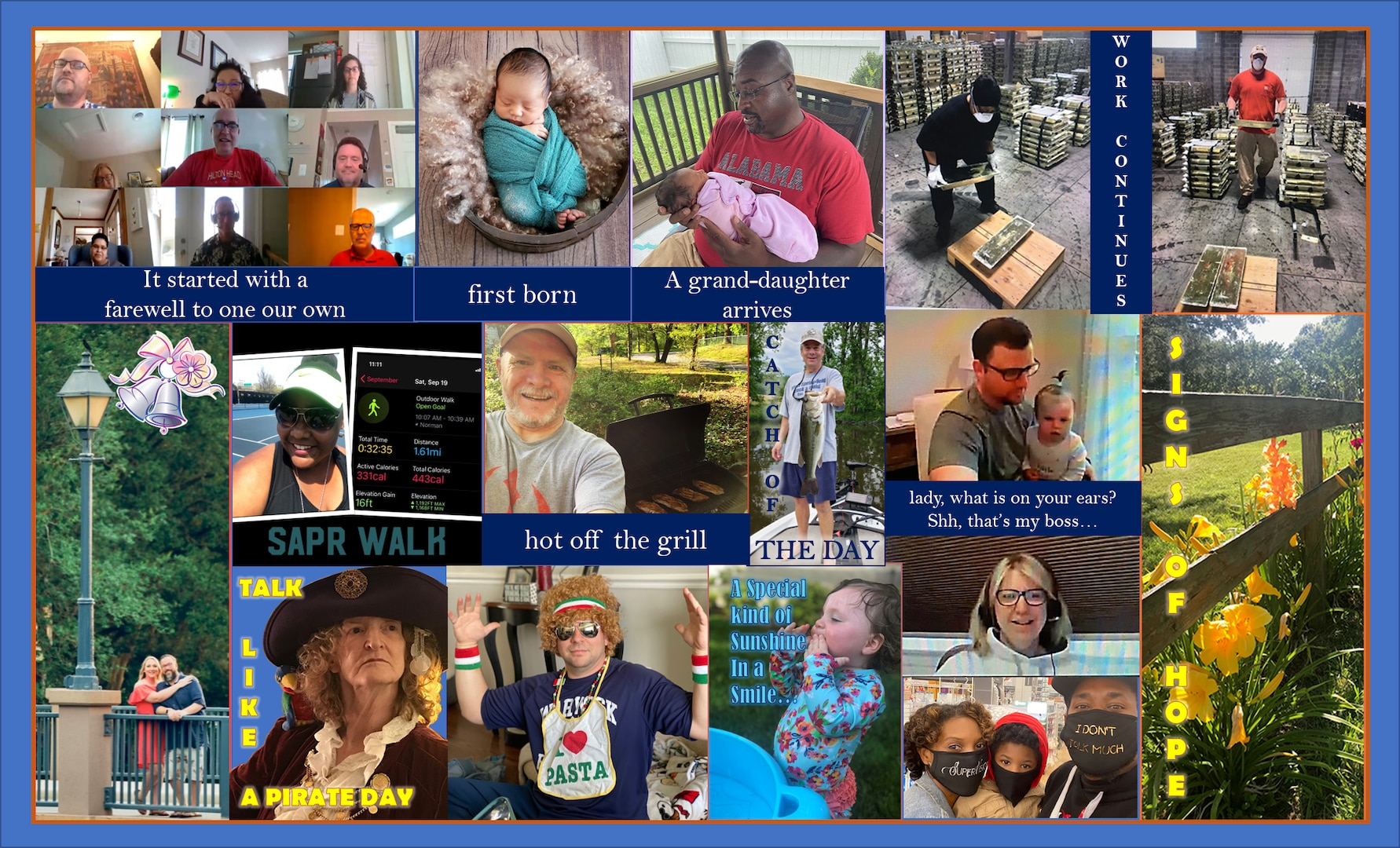 Graphic is a collage of about 20 pictures of people doing things during their off-duty time.