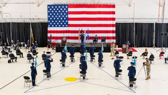 Guardians render an initial salute to Brig Gen. Shawn N. Bratton after he assumed command of the U.S. Space Force, Space Training and Readiness Command, in a ceremony at Peterson Air Force Base, CO, on August 23, 2021.(Courtesy Photo)
