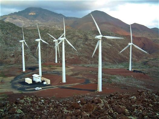 Ascension Island Airfield wind turbines