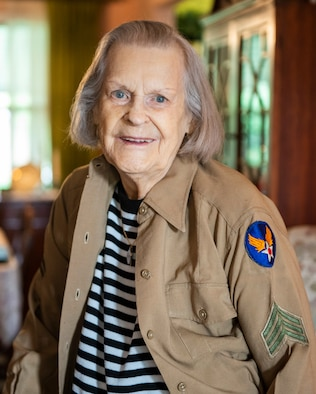 Lorraine Vogelsang, a Womens Army Corps veteran, poses for a photo wearing her uniform top from her time in the service inside her Cincinnati, Ohio, home, Aug. 19, 2021. Vogelsang served in the WAC from February 1943 until August 1945. (U.S. Air Force photo by Wesley Farnsworth)